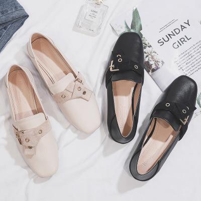 Giày da một lớp Giày cao cổ đế xuồng kiểu Anh FS-6 mùa thu 2019 mùa thu mới hoang dã đế bệt đế bằng