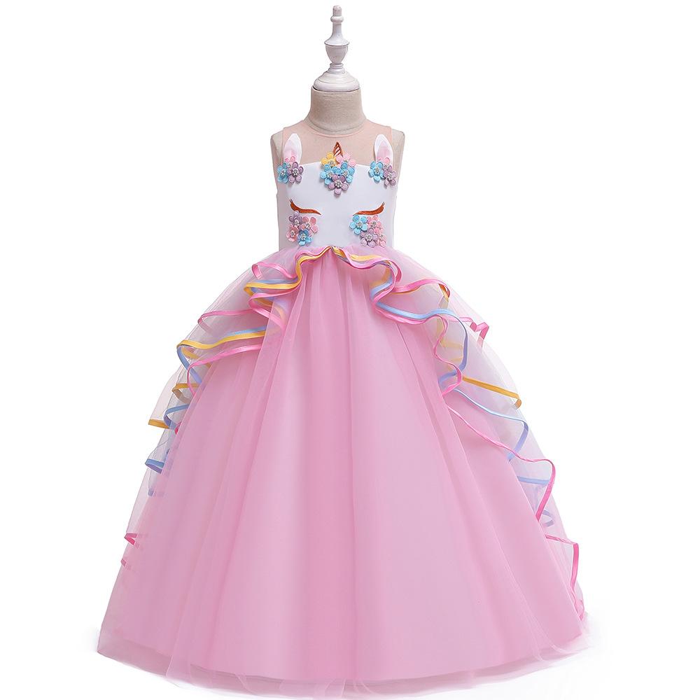 Trang phục dạ hôi trẻ em Váy trẻ em châu Âu và Mỹ kỳ lân áo dài lưới áo choàng công chúa váy hiệu su