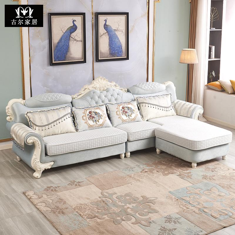 GUER Ghế Sofa Sofa vải phong cách châu Âu phòng khách kết hợp góc chaise kích thước gói căn hộ có th