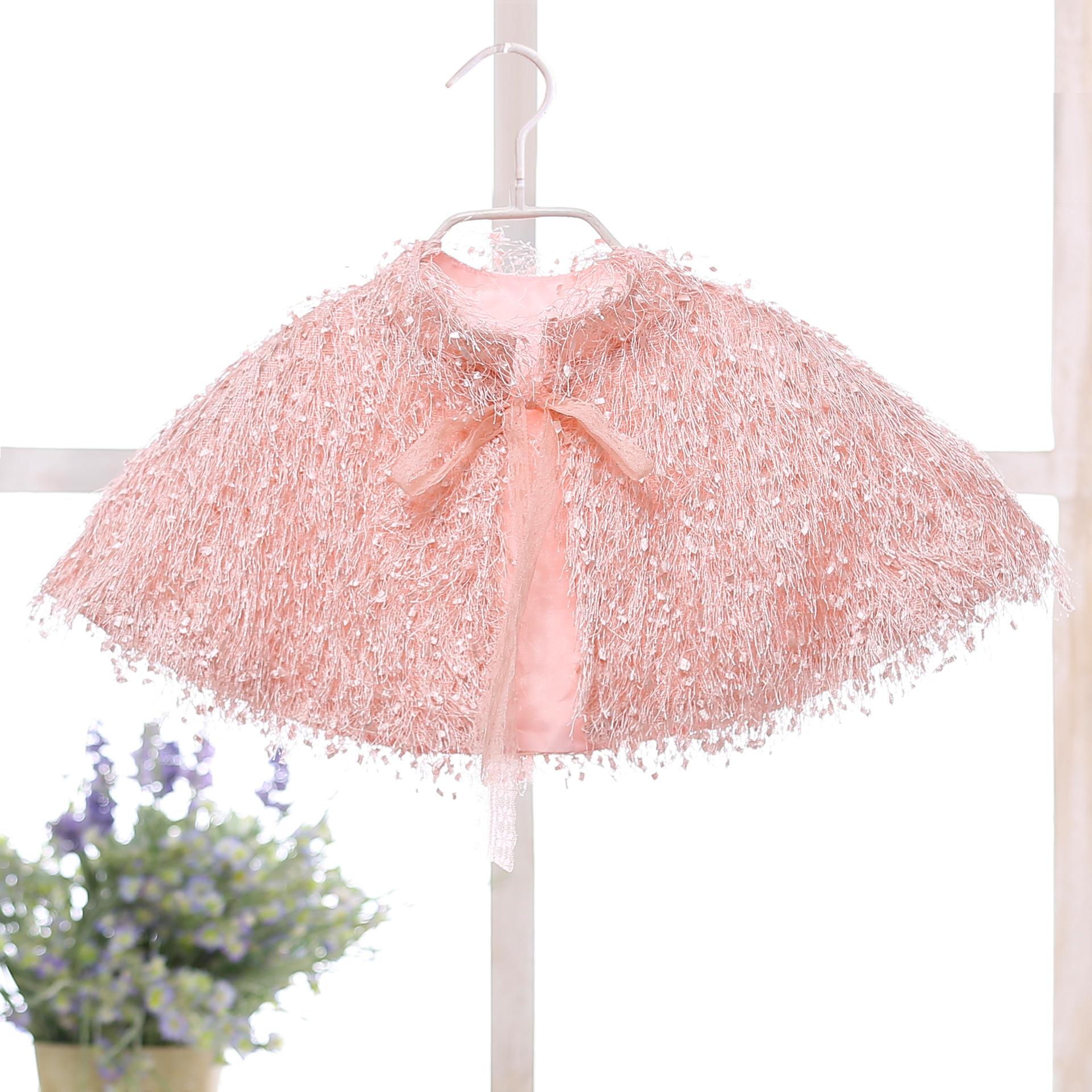 Áo choàng trẻ em Xuyên biên giới trẻ em mùa thu và mùa đông lông khăn choàng cô gái công chúa váy vá