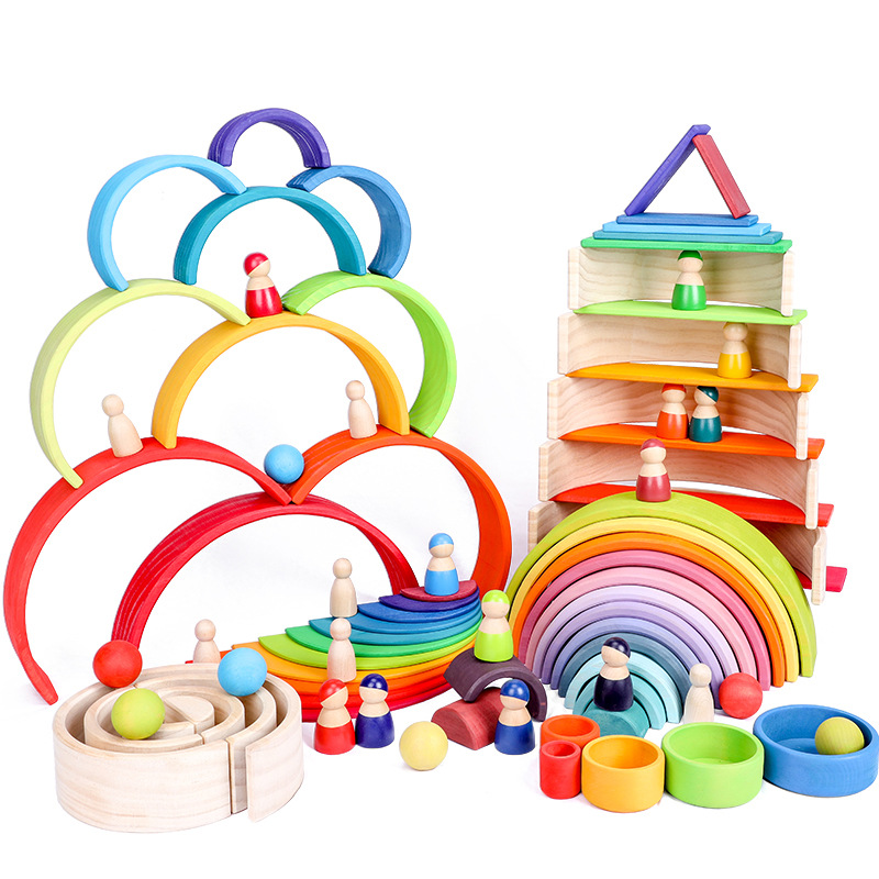 Đồ chơi bằng gỗ Gỗ 10 mảnh màu hoàng hôn loạt cầu vồng uốn cong xây dựng khối trẻ em xếp bé đồ chơi