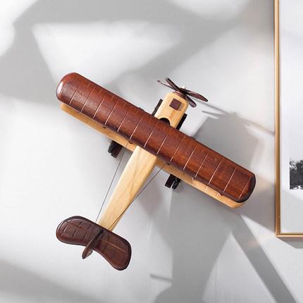 Đồ trang trí bằng gỗ Sáng tạo mô hình máy bay bằng gỗ retro trang trí trong nhà quán cà phê quán bar