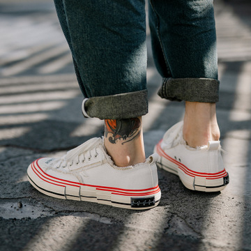 Giày Sneaker / Giày trượt ván Giày cao gót đế thô thô giày lưới màu đỏ in siêu lửa đôi giày ăn xin H
