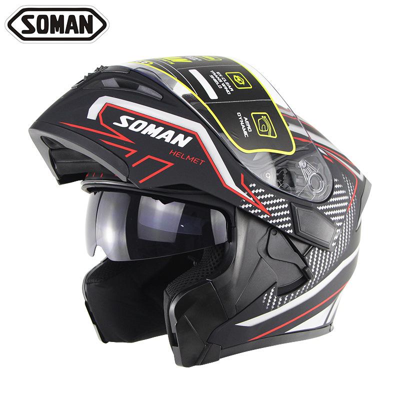 SOMAN Th ị trường xe Xe máy đua mũ bảo hiểm nam và nữ ống kính đôi tiết lộ mũ bảo hiểm bốn mùa cưỡi