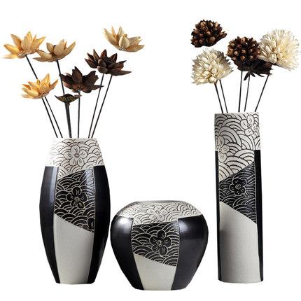 Bình bông  Bình gốm tối giản hiện đại hoa khô cắm hoa trang trí mới Trung Quốc phòng khách Bắc Âu TV