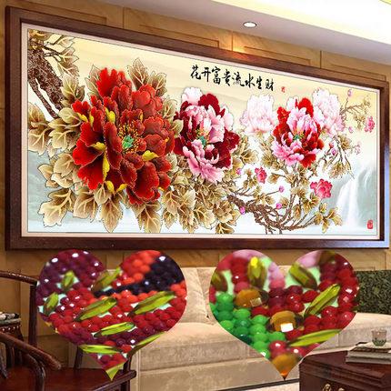 Tranh thêu chữ thập  Tranh kim cương 2020 hoa 5d mới nở đầy đủ kim cương pha lê hoa mẫu đơn điểm hoa