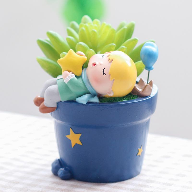 YOURANJIAN Cảnh quan Mini Phim hoạt hình nhỏ chậu hoa câu chuyện cổ tích hoàng tử nhỏ trang trí sáng