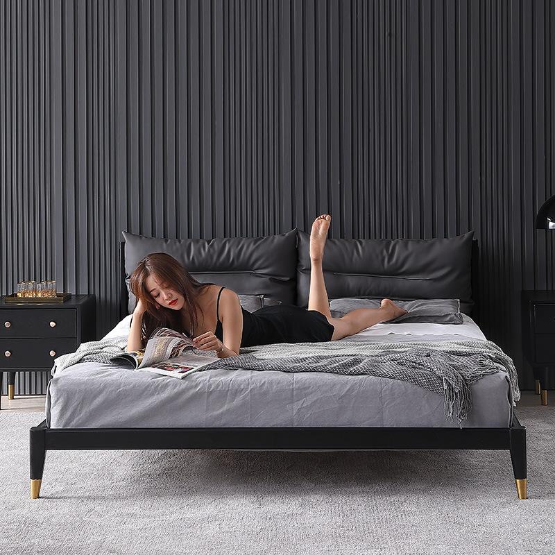 LINLANGE Giường gỗ rắn Bắc Âu hiện đại tối giản giường ngủ 1,51,8 mét giường đôi căn hộ nhỏ tro chủ