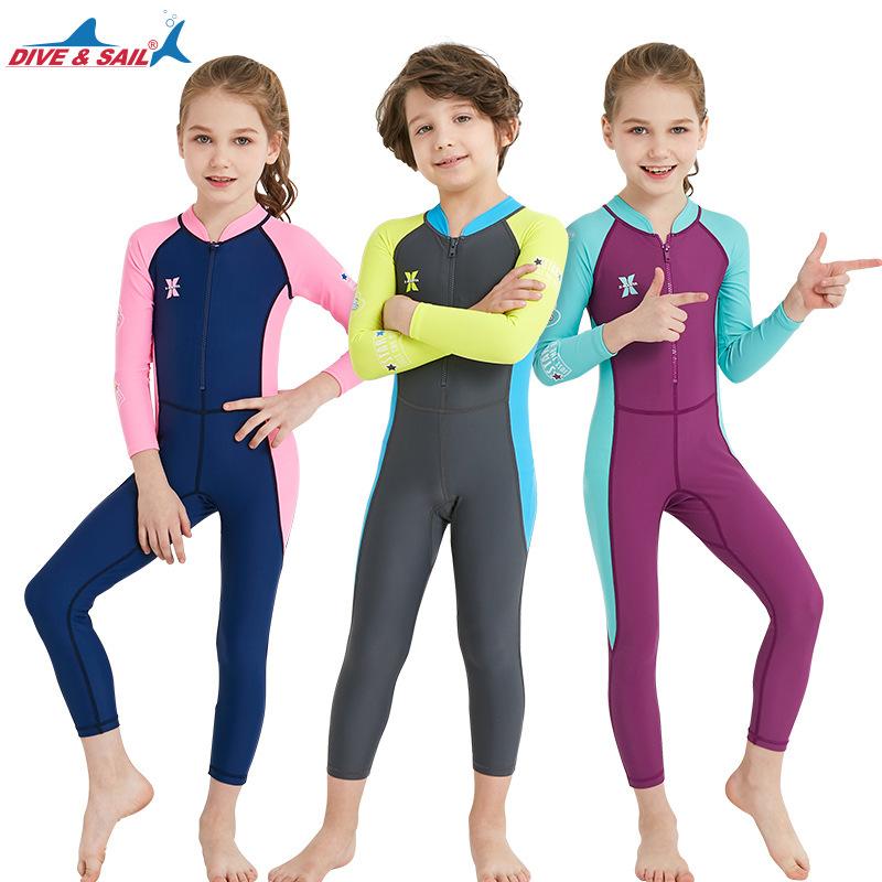 DIVE&SAIL Đồ chống nắng mau khô Mùa hè mới cho trẻ em bộ đồ lặn ngoài trời áo tắm dài một mảnh áo tắ