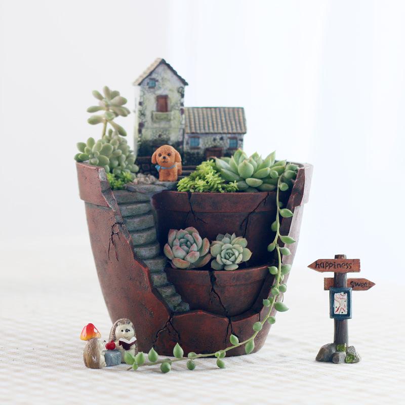 ROOGO Cảnh quan Mini Nếu nhà máy bán hàng trực tiếp sáng tạo zakka thủ công vườn trên không chậu chậ