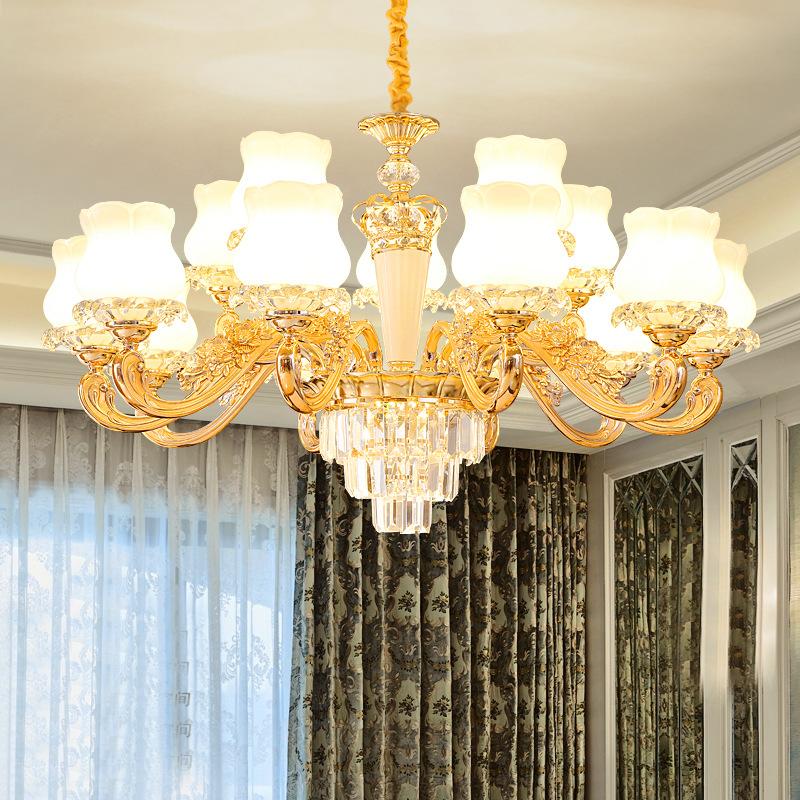Đèn treo trần Đèn chùm phòng khách 2019 mới pha lê hiện đại tối giản Mỹ đèn trần phòng ngủ nhà hàng