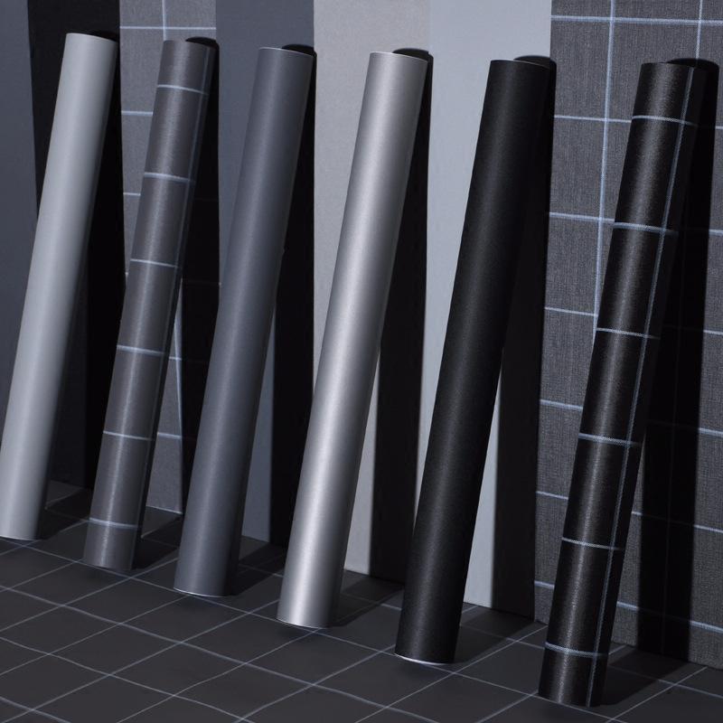 JINHUI Giấy dán tường Tự dính giấy dán tường chống thấm màu rắn đổi mới dán phòng ngủ phòng khách ph