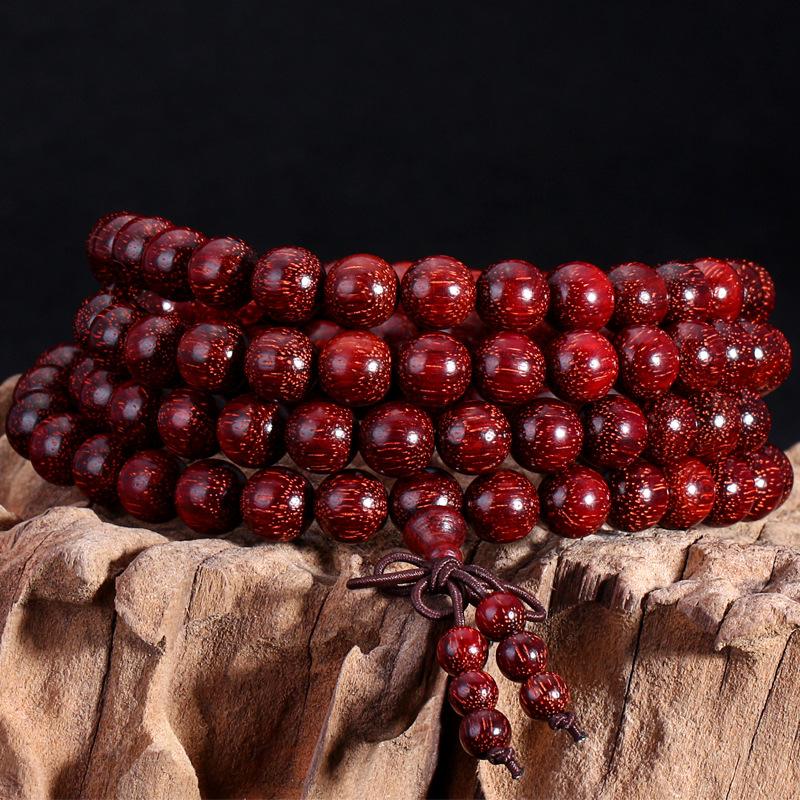 TUOJUE Chuỗi phật Vòng tay gỗ hồng sắc nhỏ, vòng tay hạt, 108 miếng, mài bằng tay