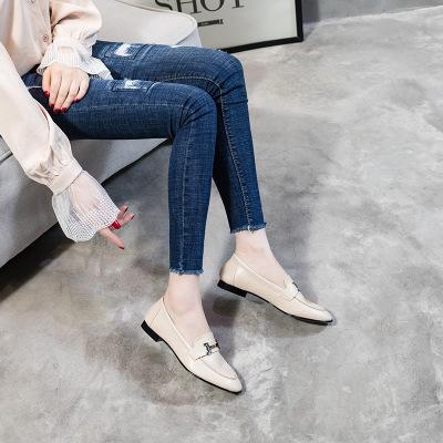 Giày Loafer / giày lười Giày kim loại khóa đơn giày nữ màu đỏ 2020 mới phẳng mùa thu hoang dã giày n