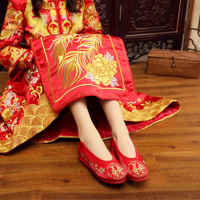 MHDT Giày cô dâu Giày vải Bắc Kinh cũ cô dâu phong cách dân tộc thêu giày nữ Xiuhe phẳng gót tròn đầ