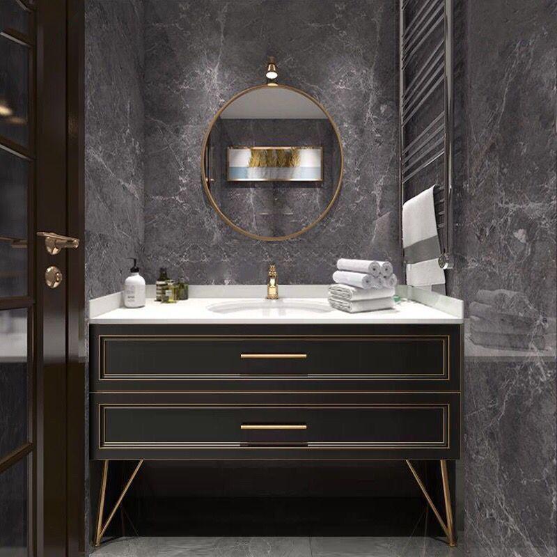 NUOYAN Tủ phòng tắm Hiện đại tối giản Bắc Âu ánh sáng sang trọng gỗ sồi phòng tắm tủ vanity kết hợp