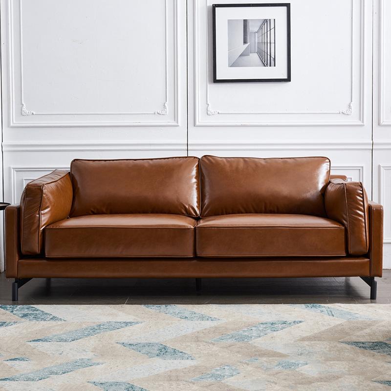 Ghế Sofa Sofa da tối giản Ý, sofa ba tầng da đầu tiên, khách sạn văn phòng tiếp khách kết hợp sofa