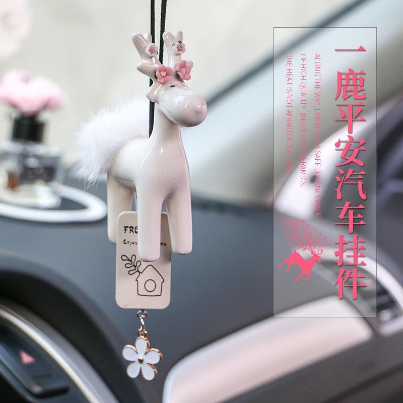 WENTONGZI Thị trường đồ trang trí xe hơi Nhật Bản và Hàn Quốc gốm một con hươu an toàn xe mặt dây tu