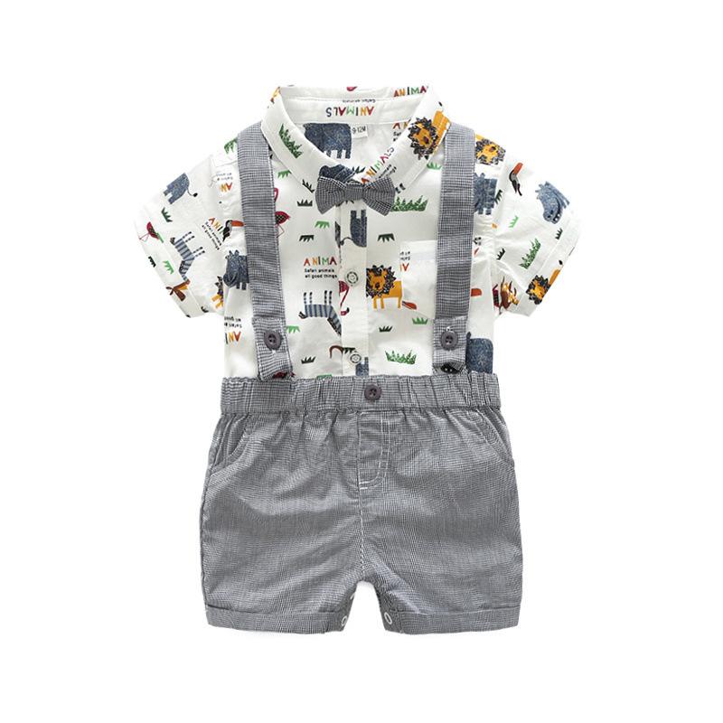 TOP and TOP Đồ Suits trẻ em Mùa hè 2018 Chàng trai khai thác Bib Suit Set Tide Brand Little Monster