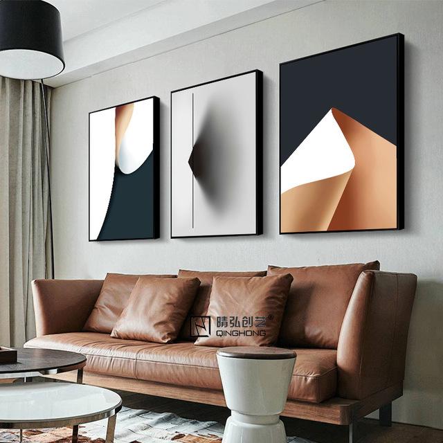 JINGHONG Tranh trang trí Chất liệu khung vải phong cách hiện đại Màu vàng đơn giản Mục số 346 Nhãn h