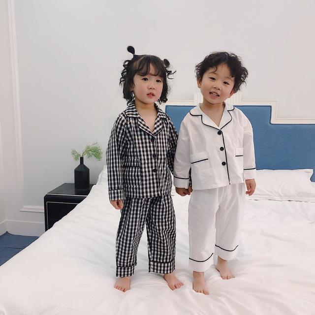 QQMM Đồ ngủ trẻ em Trẻ em mùa xuân và mùa thu kẻ sọc phục vụ nhà phù hợp với bé trai và bé gái Hàn Q