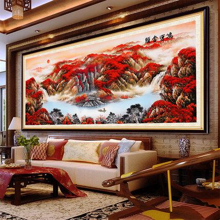 Essestitch  Tranh thêu chữ thập  2020 Hongyun đầu sơn kim cương phòng khách đầy phong cảnh kim cương