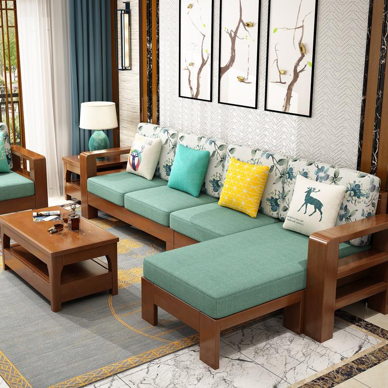 JINFENG Ghế Sofa Sofa gỗ rắn cộng với vải với đệm cao su góc phòng khách mới kết hợp sofa Trung Quốc