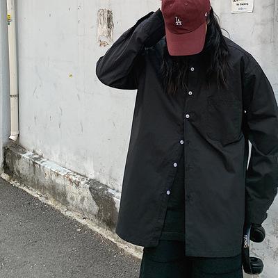 Áo Sơmi Mùa xuân 2020 mới màu rắn áo sơ mi nam thiếu niên Hàn Quốc ve áo dài tay áo thủy triều
