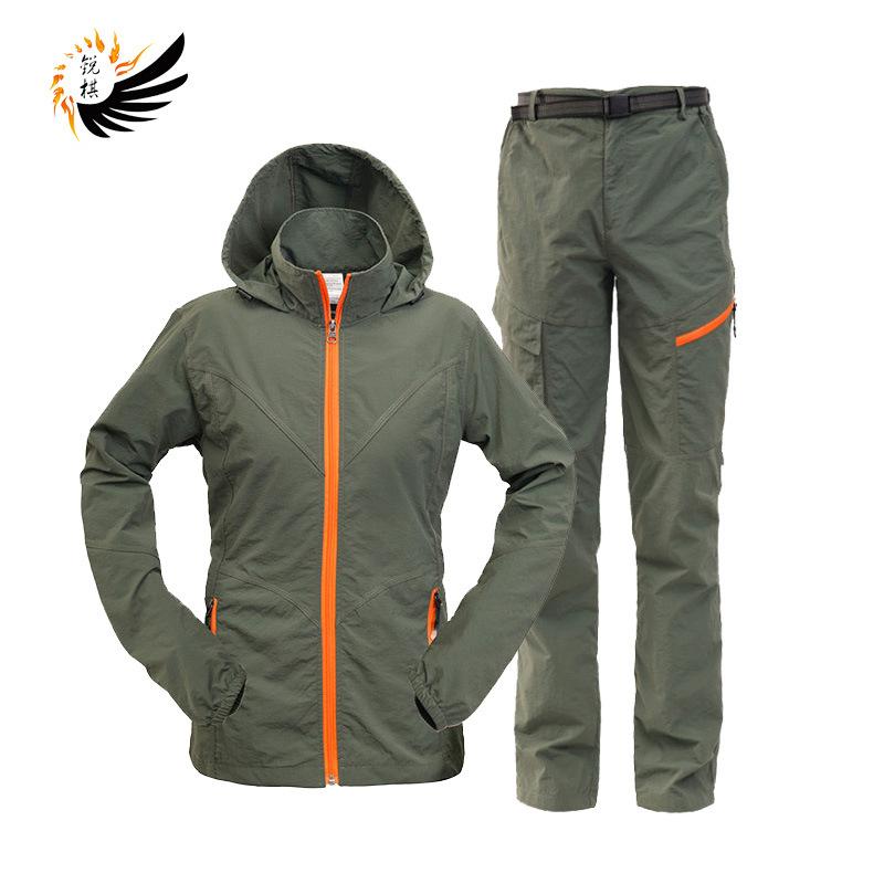 Quần áo mau khô Quần cờ vua nhanh khô quần phù hợp với cặp vợ chồng mô hình ngoài trời quần khô nhan