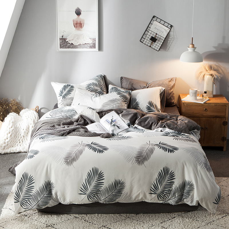 DUOSHU Bộ drap giường 2019 cotton mới cộng với nhung bốn mảnh cotton pha lê bộ đồ giường bằng vải la