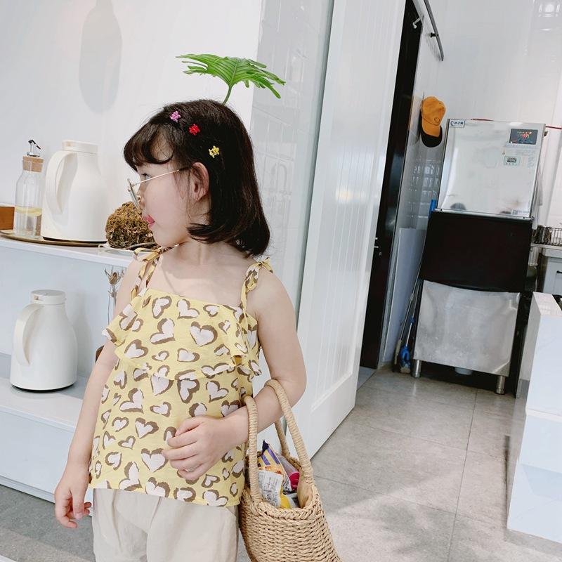 Áo ba lỗ / Áo hai dây trẻ em Cong Xiaomei 2019 hè mới quần áo trẻ em gái yếm áo trẻ em Áo yếm Hàn Qu