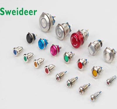 Sweideer Đèn tín hiệu 10MM Kim loại đèn pin vít pin chống thấm nước tín hiệu đèn led điện thiết bị t