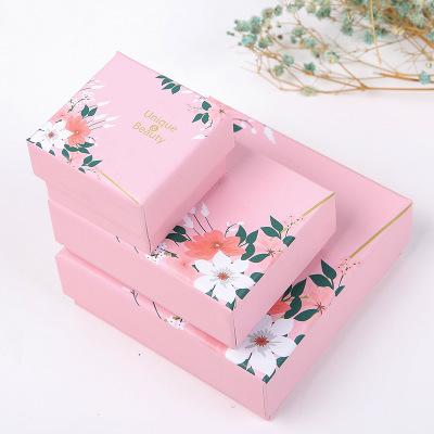 KANGJU Hộp trang sức Tinh tế màu hồng in hộp trang sức vòng đeo tay vòng trang sức hộp bông tai tran