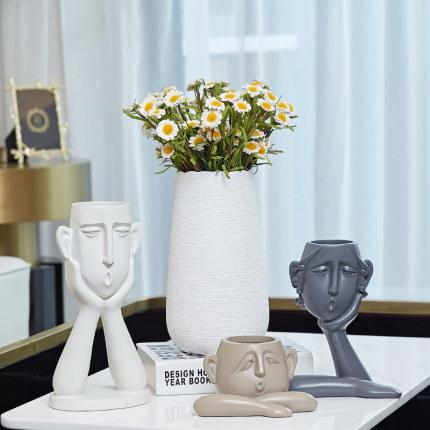 Bình bông  Bình gốm Bắc Âu trang trí phòng khách bàn ăn cắm hoa mô phỏng hoa khô hiện đại tối giản t