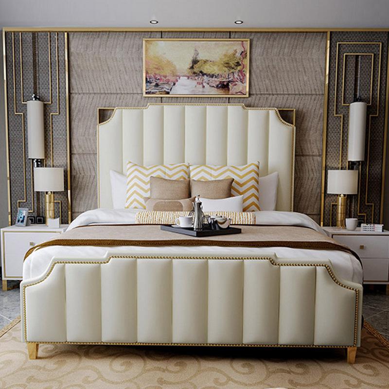 ZHONGYI Giường hộp cao cấp sang trọng kết hợp giường ngủ bằng da tổng thể phòng ngủ chính 1,8 m giườ