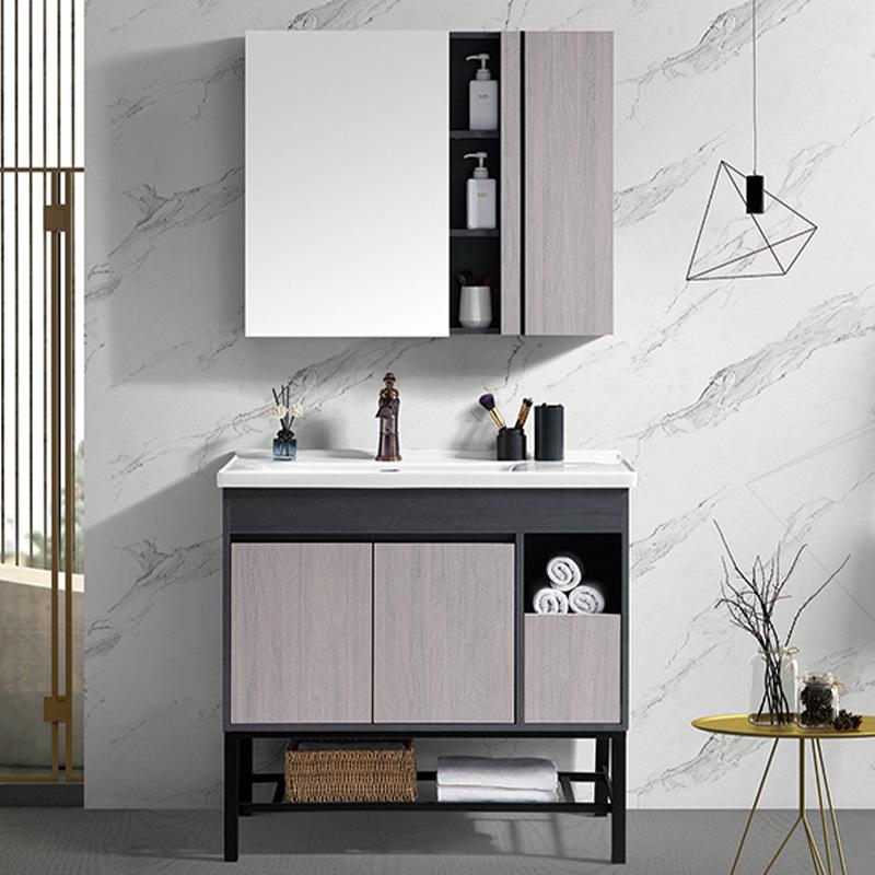 AIOUBAO Tủ phòng tắm Phòng tắm tối giản hiện đại tủ phòng tắm rửa chậu rửa chậu rửa gỗ rắn tủ phòng