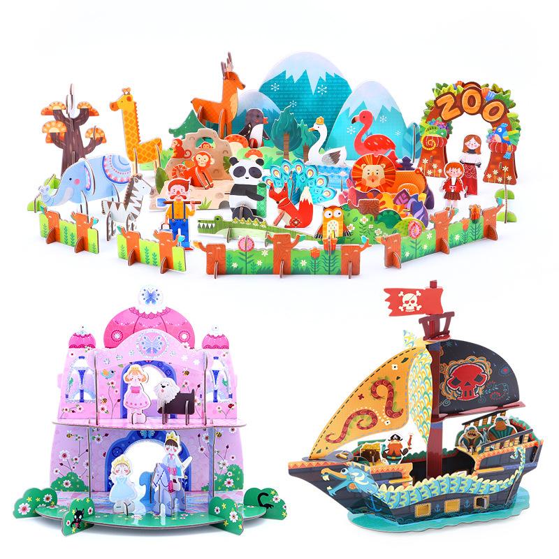 JoanMiro Tranh xếp hình 3D Merlot JoanMiro trẻ em 3D câu đố đồ chơi trẻ em DIY khối giấy xây dựng câ