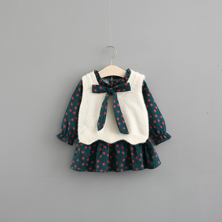 BEIKUYU Phong cách Hàn Quốc Quần áo trẻ em váy bé gái mùa xuân 0-4 tuổi bé gái Váy búp bê hoa Hàn Qu
