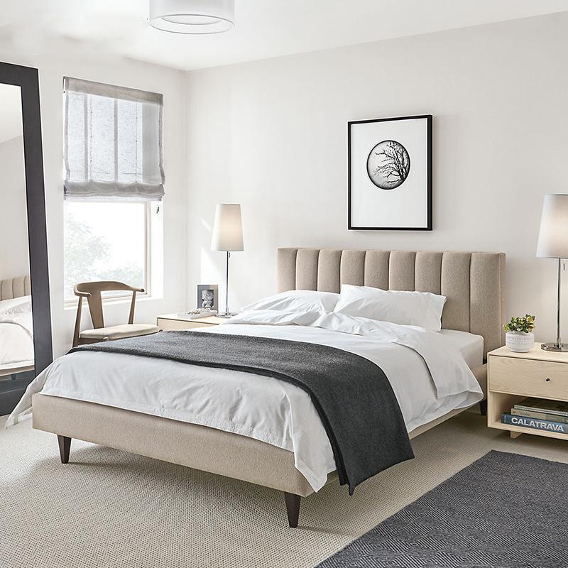 giường Yihaixuan Giường vải Bắc Âu Nội thất phòng ngủ thời trang đơn giản 1,5 mét 1,8 mét Cotton Cot