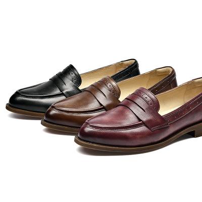 BAIYOUMEI Giày Loafer / giày lười Giày đơn nữ 2020 mùa xuân Giày nữ mũi nhọn đế bằng da nông bằng ph