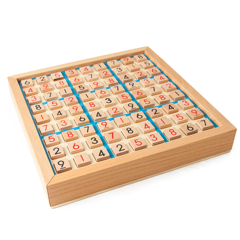 HONGCHENG Đồ chơi bằng gỗ Gỗ bốn sáu chín cung sudoku đồ chơi trò chơi cờ vua người lớn suy nghĩ log