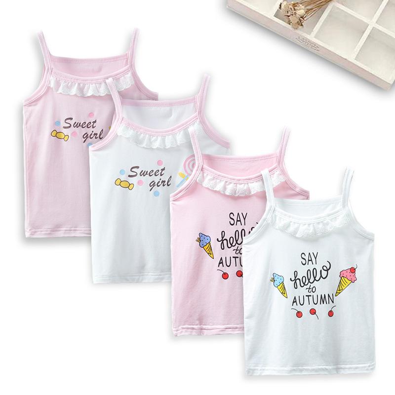 Áo ba lỗ / Áo hai dây trẻ emÁo len bé gái mùa hè trẻ em mới ren áo yếm trẻ em vest bé phim hoạt hình