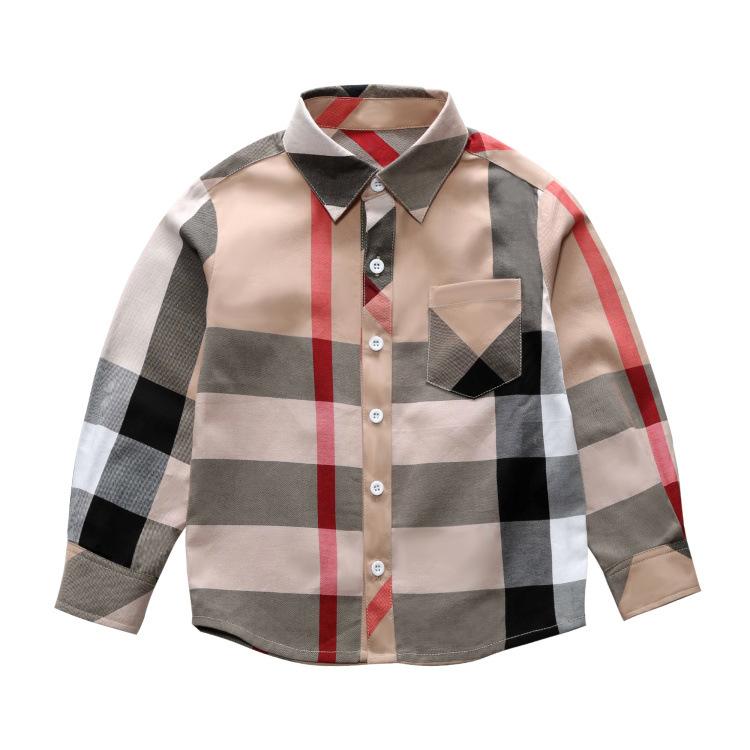 Áo Sơ-mi trẻ em Quần áo xuân hè 2019 cho bé trai ve áo kẻ sọc dài tay áo sơ mi cotton trẻ em