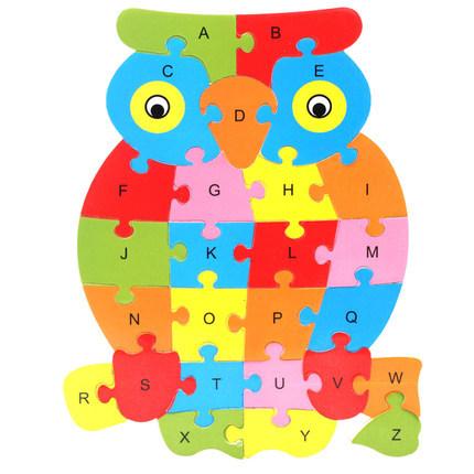 QIAOLINGLONG Đồ chơi bằng gỗ Giáo dục mầm non câu đố hoạt hình động vật 26 chữ câu đố đồ chơi bằng g