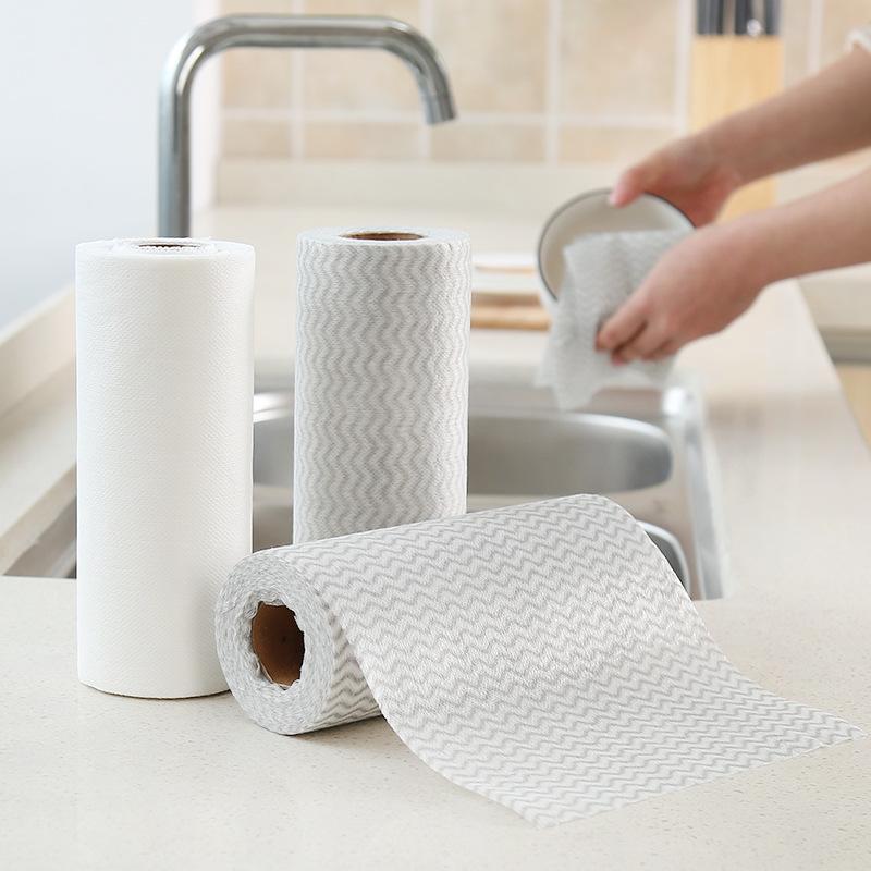 Khăn rửa chén Khăn lau nhà bếp dùng một lần không dính dầu và vải không thấm nước, vải ướt và khô