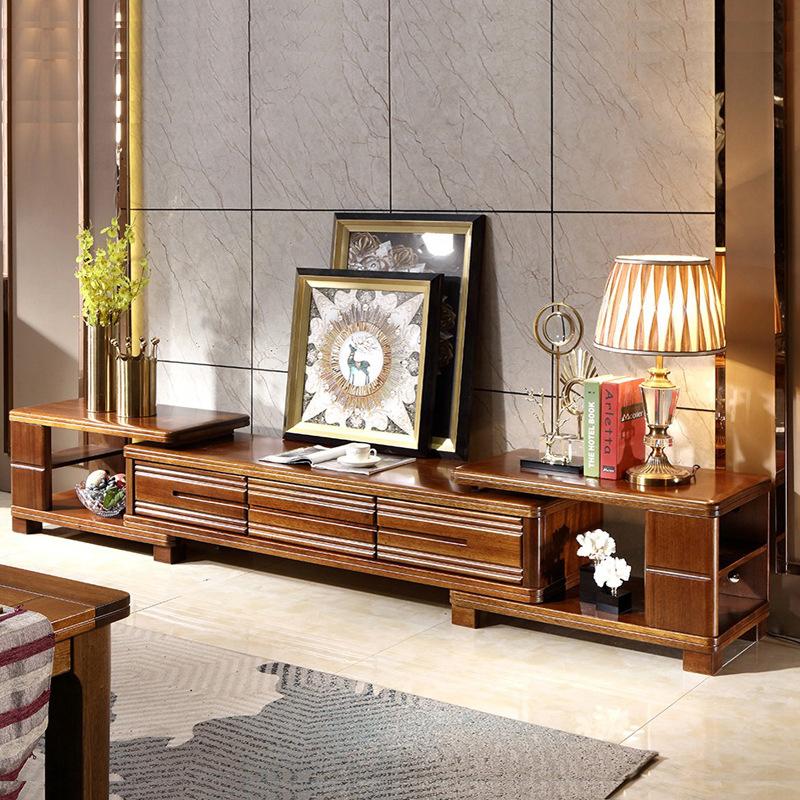 DABANG Kệ Tivi Hiện đại mới phong cách Trung Quốc dây vàng óc chó TV tủ trà kết hợp phòng khách có t
