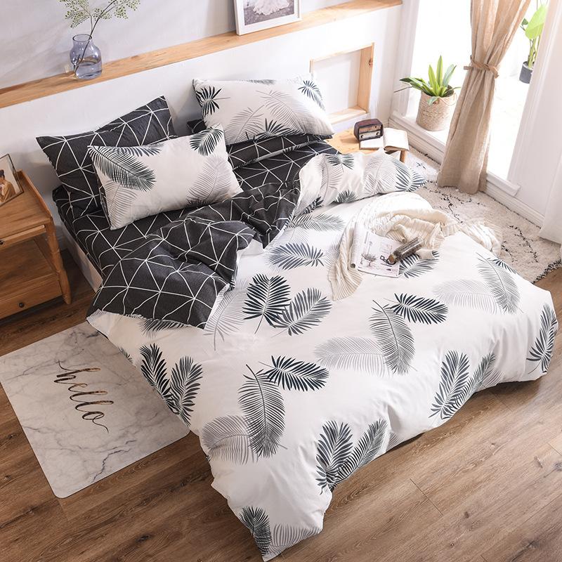 ZHUANGJIE Bộ drap giường 2020 mùa xuân Bắc Âu giường bốn mảnh cotton đơn giản bộ đồ giường chăn quil