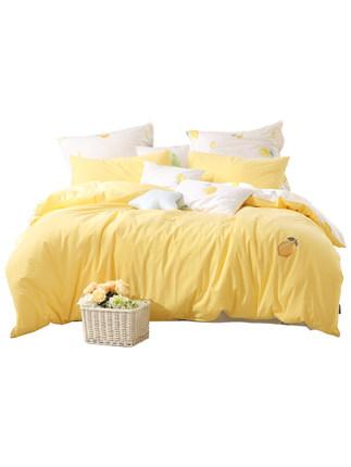 Mercury Home  Bộ drap giường  Dệt Bông Giặt Ba / Bốn Bông Cotton Bắc Âu Ins Wind quilt Cover Sheet