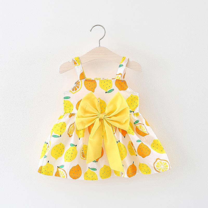 Trang phục trẻ em mùa hè Váy hè 2019 cho bé gái Lemon Bow Sling Cotton Cotton Dress