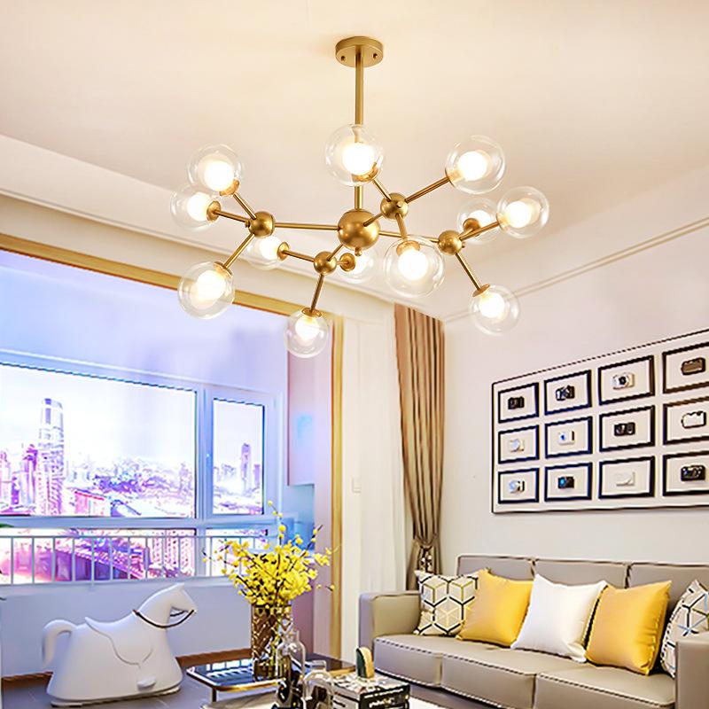 Đèn treo trần Phòng khách tối giản hiện đại cá tính đèn chùm nhà hàng phòng ngủ phòng khách Bắc Âu đ
